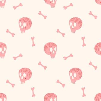 Wektor wzór na halloween z tatuażami różowych czaszek i różowymi kośćmi na beżowym tle