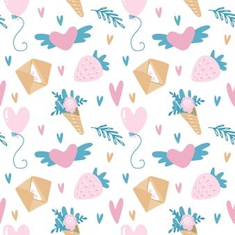 Wektor wzór na walentynki w różowe i turkusowe kolory z kopert, truskawek, balonów i kwiatów.