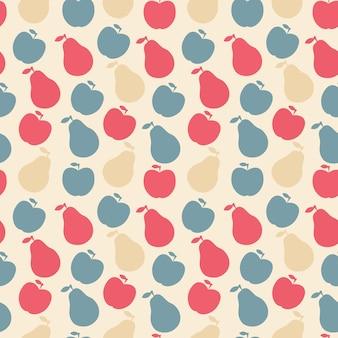 Wektor wzór owoców - jabłko i gruszka