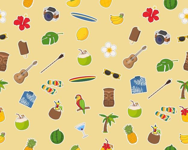 Wektor wzór płaski tekstura aloha zestaw ładny hawajski.