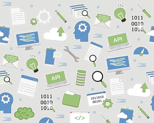 Wektor wzór płaski tekstura umiejętności programowania