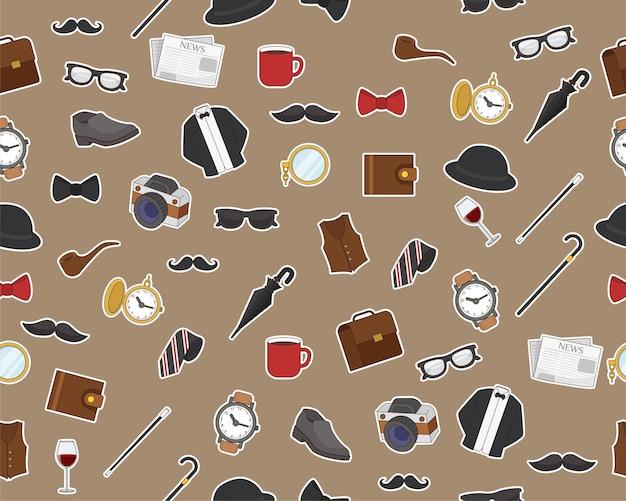 Wektor wzór płaskie bezszwowe tekstura dżentelmen