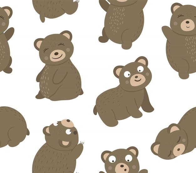 Wektor wzór ręcznie rysowane płaskie śmieszne niedźwiedzie w różnych pozach. urocza powtórka ze zwierzętami leśnymi