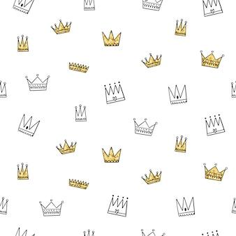 Wektor wzór. różne korony, złota tekstura