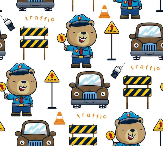 Wektor wzór słodkiego misia kreskówki w mundurze policjanta ze znakami drogowymi