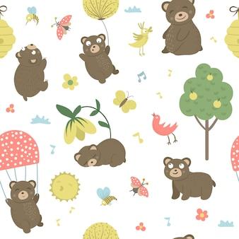 Wektor wzór stylu cartoon ręcznie rysowane niedźwiedzie płaskie w różnych pozach. powtórz przestrzeń zabawnych scen z teddym. śliczna ilustracja zwierząt leśnych do druku