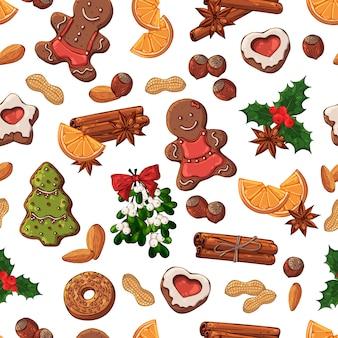 Wektor wzór: symbole świąteczne i słodycze.