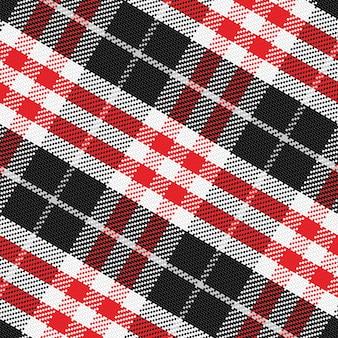 Wektor wzór szkocki tartan 3, czarny, biały, szary, czerwony