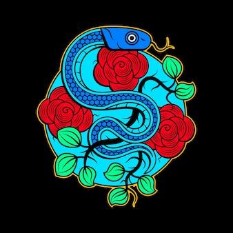 Wektor wzór tatuażu węża i czaszki z banerem i kwiatem