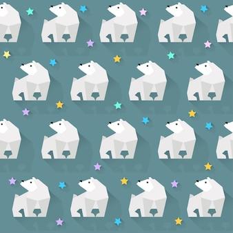 Wektor wzór tła z białego niedźwiedzia i gwiazd