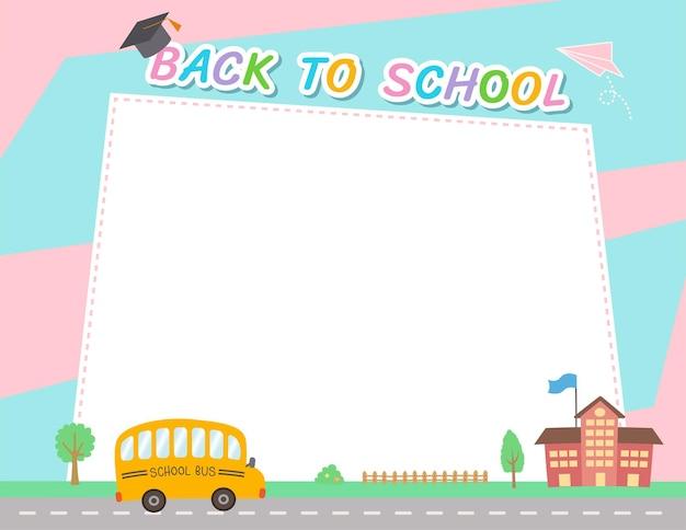 Wektor wzór tła z powrotem do szkoły z autobusem szkolnym i ramki na kolor różowy i niebieski.