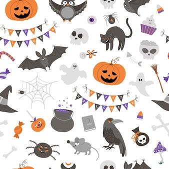 Wektor wzór z elementami halloween. tradycyjne tło strony samhain. straszny papier cyfrowy z jack-o-lantern, pająkiem, duchem, czaszką, nietoperzami, czarownicą, wampirem.