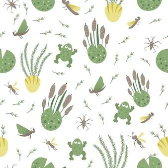 Wektor wzór z elementami rzeki lub bagna powtarza tło z żabą