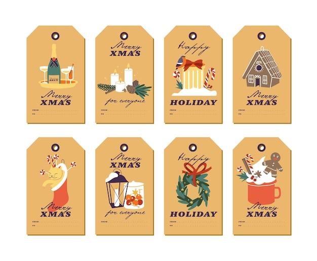 Wektor wzór z elementami życzeń bożonarodzeniowych i tradycyjnymi atrybutami bożonarodzeniowymi na papierze rzemieślniczym. boże narodzenie tagi lub etykiety z typografii i kolorowe ikony.