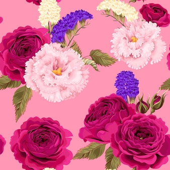 Wektor wzór z eustoma, różami i suchymi kwiatami na różowym tle