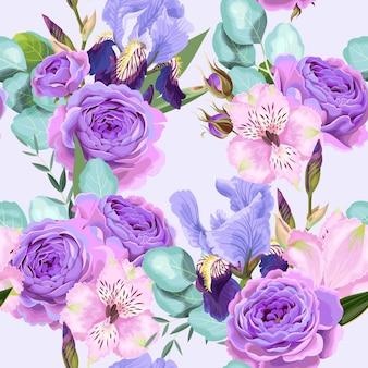 Wektor wzór z fioletowe róże i irys