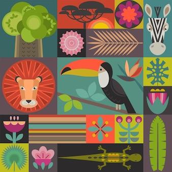 Wektor wzór z geometrycznymi kreskówkami afrykańskimi zwierzętami