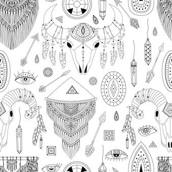 Wektor wzór z ilustracjami boho. czeski tło. grafika liniowa, kontury.