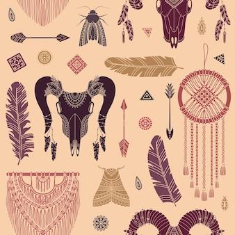Wektor wzór z ilustracjami boho. czeskie tło w prostym stylu.