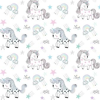 Wektor wzór z jednorożcami i gwiazdami śliczny bezszwowy wzór jednorożca dla dziecibaby background