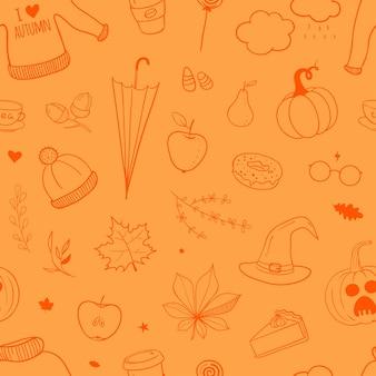 Wektor wzór z jesiennych doodles jasny papier pakowy na halloween i święto dziękczynienia