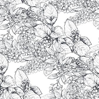 Wektor wzór z kompozycjami ręcznie rysowane kwiaty, kwitnące gałęzie drzew. piękny czarno-biały naszkicowany kwiatowy niekończące się tło.