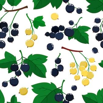 Wektor wzór z kreskówka jagody czarnej i białej porzeczki z zielonymi liśćmi