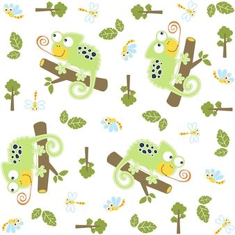 Wektor wzór z kreskówki śmieszne kameleon w drzewo polowanie ważek
