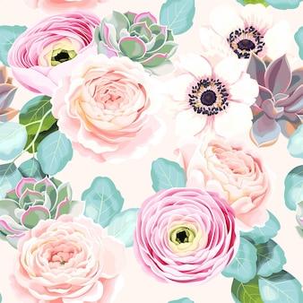 Wektor wzór z kwiatami i sukulentami