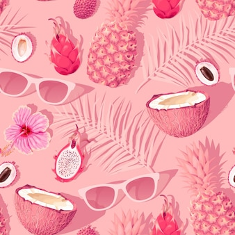 Wektor wzór z kwiatów i owoców tropikalnych na różowym tle