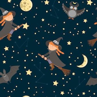 Wektor wzór z latająca wiedźma na miotle, księżyc, gwiazdy, sowa, bat. papier cyfrowy z postaciami halloween. śliczna jesień wszystkich świętych tło dla dzieci.