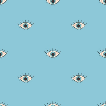 Wektor wzór z otwartym czerwonym okiem w płaskim stylu na niebieskim tle