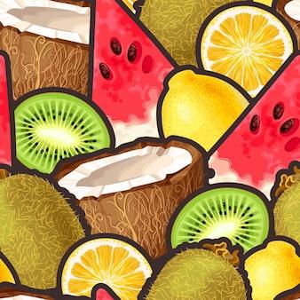 Wektor wzór z owocami