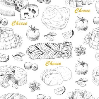 Wektor wzór z produktami serowymi