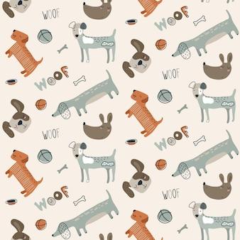 Wektor wzór z psami zwierzętami creative nieograniczone tło przedszkola