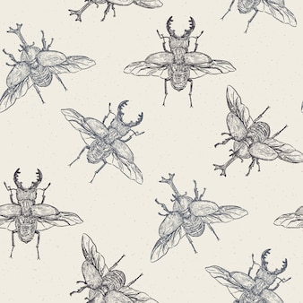 Wektor wzór z ręcznie rysowane chrząszcze wykonane w stylu retro. piękny rysunek atramentem - wektor