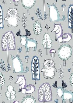 Wektor wzór z ręcznie rysowane dzikie zwierzęta leśne drzewa kwiaty grzyby