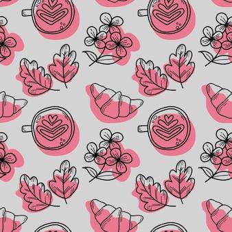 Wektor wzór z rogalikami i kwiatami chryzantemy cappuccino w stylu doodle