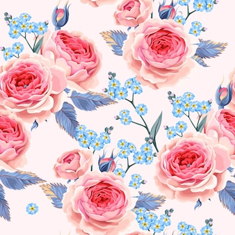 Wektor wzór z różami i zapomnij o mnie kwiaty