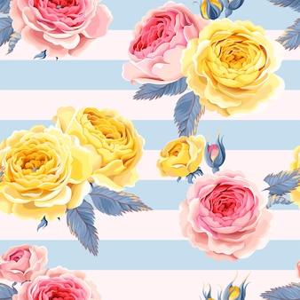 Wektor wzór z różami na tle paski