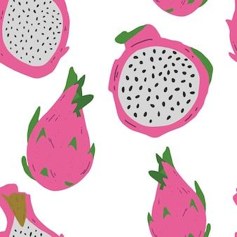 Wektor wzór z różowymi pitayas