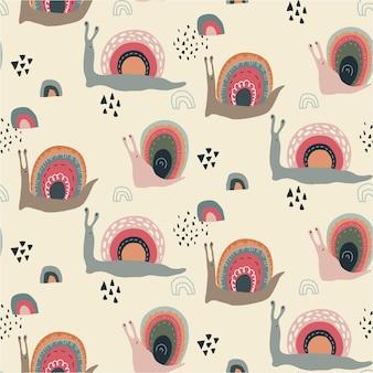 Wektor wzór z słodkie śmieszne tęczowe ślimaki w abstrakcyjnym stylu skandynawskim