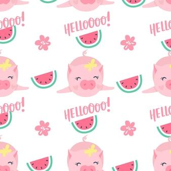 Wektor wzór z śmieszne świnie. elementy do projektowania sylwestrowego. symbol 2019 roku w chińskim kalendarzu. tło świnia na białym tle. zwierzęta z kreskówek do pakowania papieru, kart, pościeli.