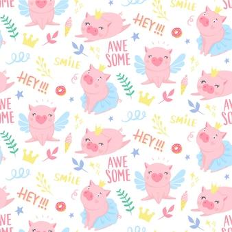 Wektor wzór z śmieszne świnie. symbol 2019 roku w chińskim kalendarzu. tło świnia na białym tle. zwierzęta z kreskówek do pakowania papieru, kart, pościeli. projekt dla dzieci.