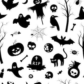 Wektor wzór z sylwetkami halloween. czarno-białe tło strony samhain. straszny papier cyfrowy z jack-o-lantern, pająkiem, duchem, czaszką, drzewami, nietoperzami, grobowcem, siecią.