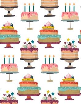 Wektor wzór z tortami urodziny party