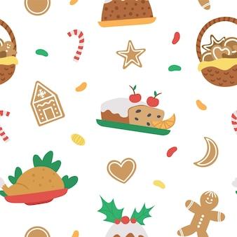 Wektor wzór z tradycyjnych świątecznych deserów i potraw. ładny zabawny powtarzający się nowy rok posiłek w tle. papier cyfrowy z zimowym jedzeniem.