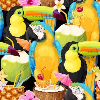 Wektor wzór z tropikalnych koktajli i ptaków
