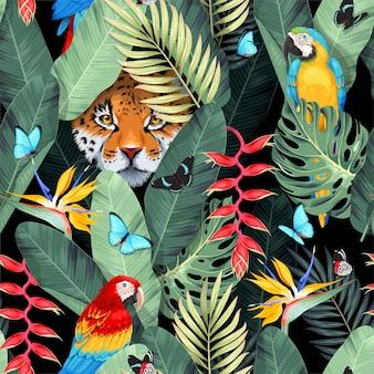 Wektor wzór z tropikalnymi ptakami, jaguarem i liśćmi palmowymi z tropikalnymi kwiatami