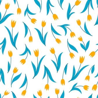 Wektor wzór z tulipanem na białym tle. tapeta używana na czasopisma, tekstylia, papier, kartki okolicznościowe.
